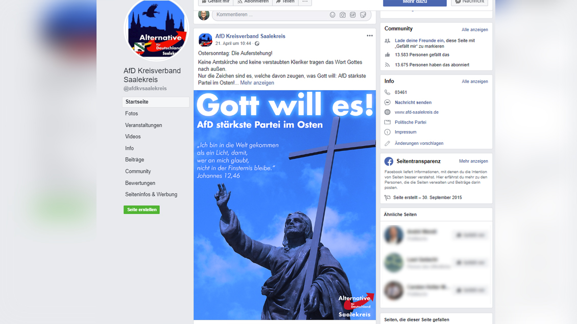 "Screenshot der AfD Saalekreis mit dem Slogan ""Gott will es"" Foto: Screenshot"