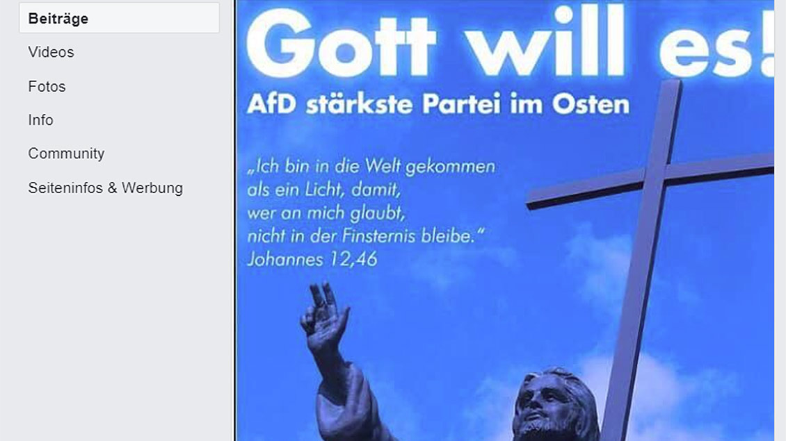 Skreenshot des Facebook-Post des AfD-Kreisverband Saalekreis Foto: Screeshot